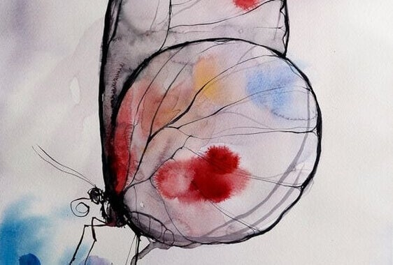 Målning av fjäril