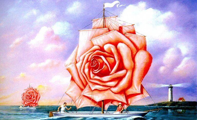 Skepp med ros som segel