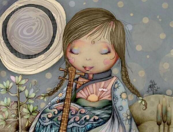 Flicka med instrument