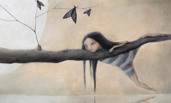Flicka på gren
