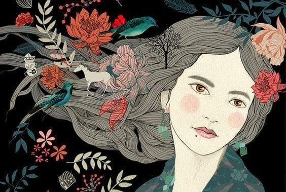 Kvinna med blommor i håret