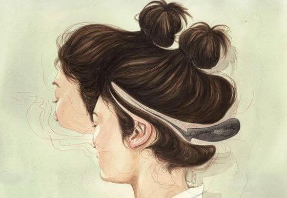 Kvinna med dubbelansikte