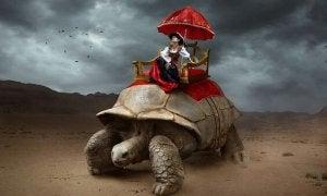 Kvinna på sköldpadda