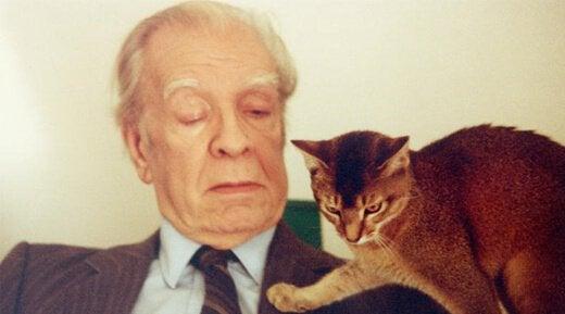 Jorge Luis Borges med katt