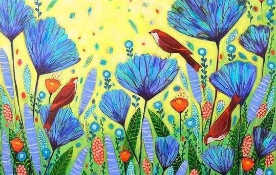 Fåglar och blommor