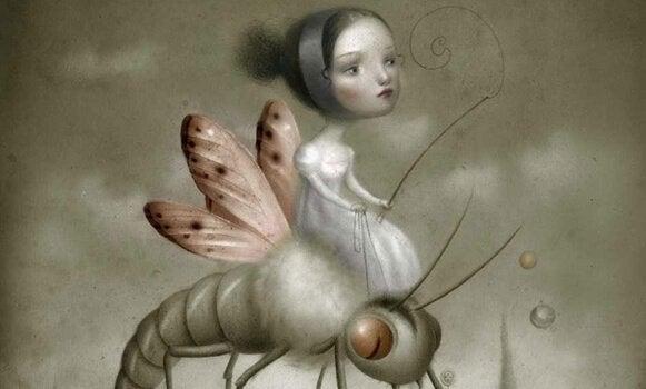 Flicka som rider på insekt