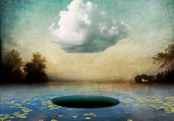 Hål i en damm