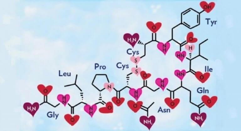 Kemisk struktur med hjärtan
