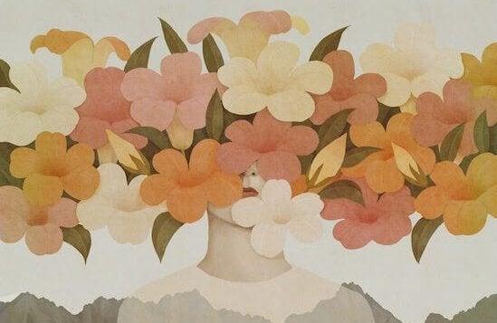 Kvinna med blommor i ansiktet