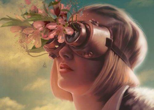 Kvinna med rosiga glasögon