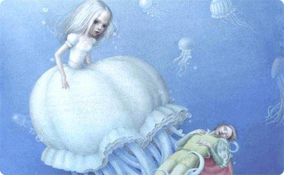 Prinsessa och prins under vattnet