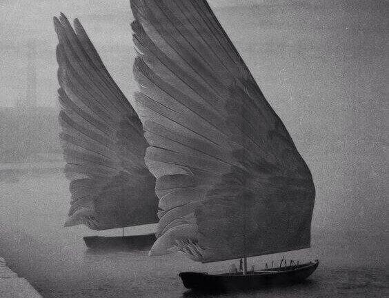 Båtar med vingar som segel
