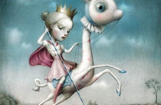 Flicka rider på fantasidjur
