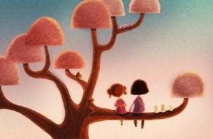 Flickor i träd