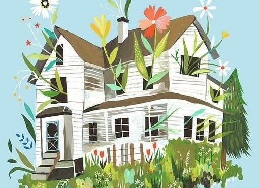 Hus med växter