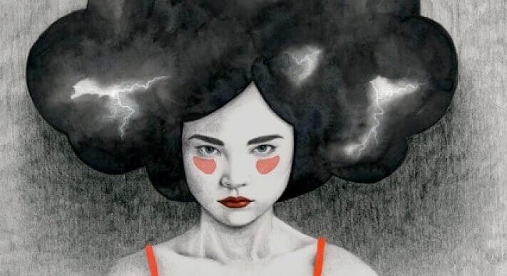 Kvinna med blixtar