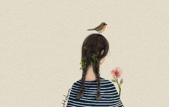 Kvinna med fågel på huvudet