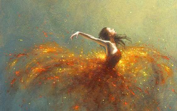Kvinna med gyllene kjol