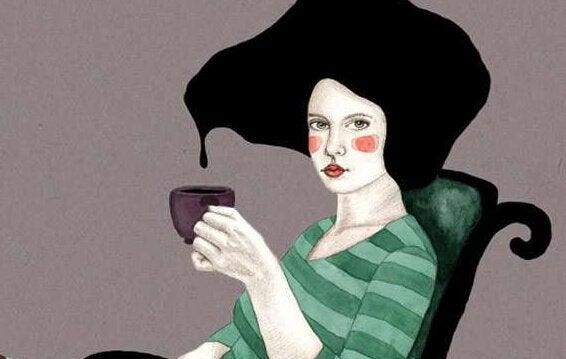 Kvinna med kopp