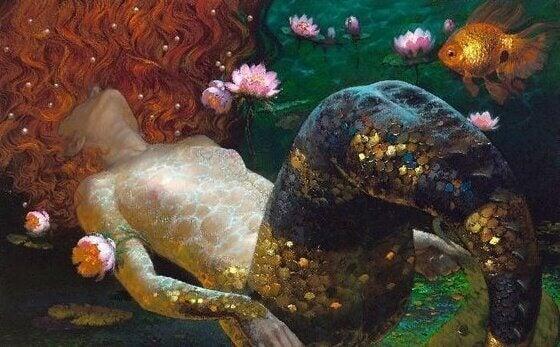 Sjöjungfru som ligger ner
