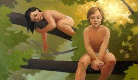 Två barn i träd