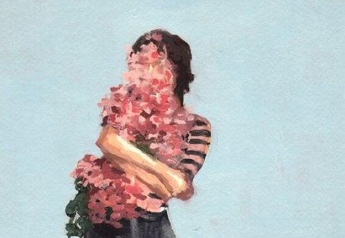 Flicka av blommor
