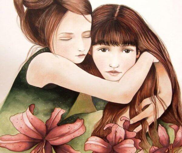 Flickor kramar varandra