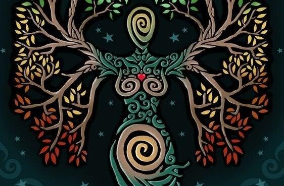 Gudinna formad som träd
