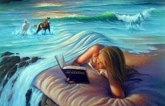 Kvinna lever sig in i bok