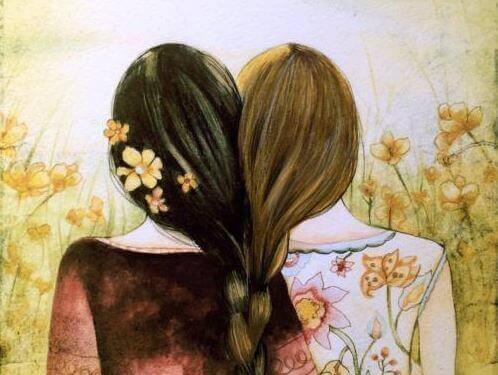 Kvinnor med sammanflätat hår