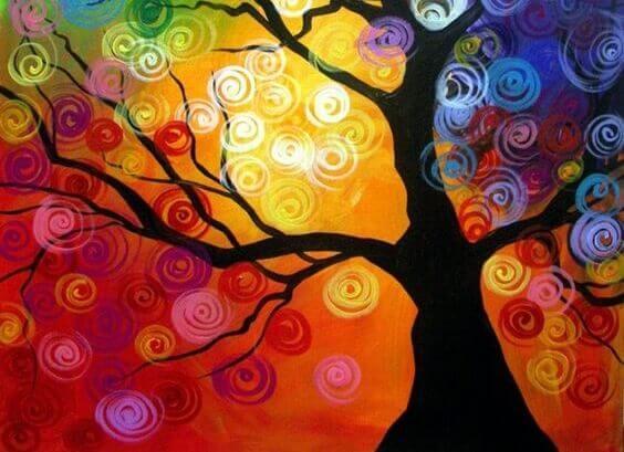 Träd i pastell