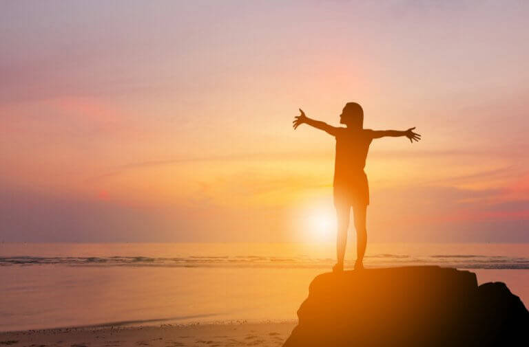 Person vid solnedgång