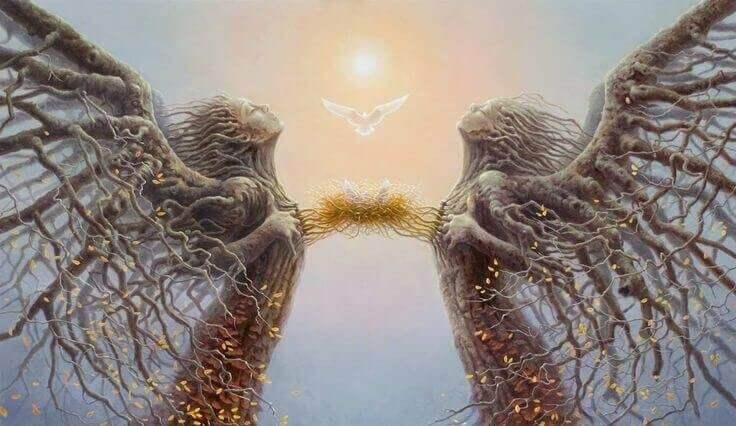 Speglingsteorin säger att såren i våra hjärtan antingen kan sammanfläta eller separera