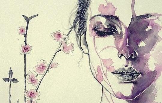 Målning av kvinna med blomma