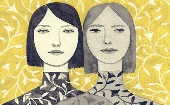 Målning av systrar