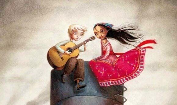 Par med gitarr