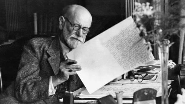 Sigmund Freud som arbetar