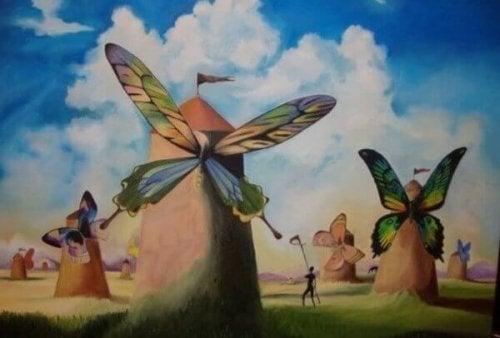 Väderkvarnar med fjärilar