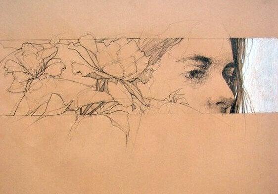 Ansikte med blommor