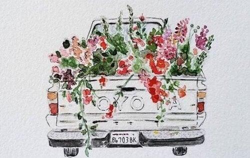 Bil full med blommor