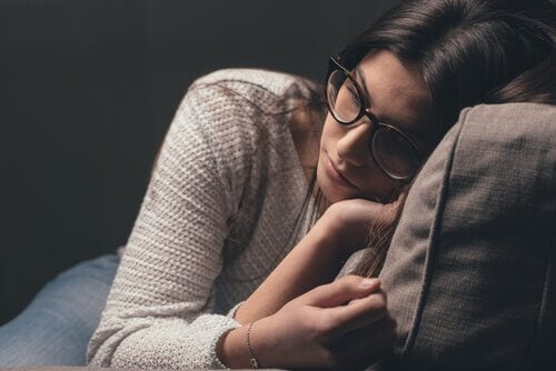 Deprimerad kvinna