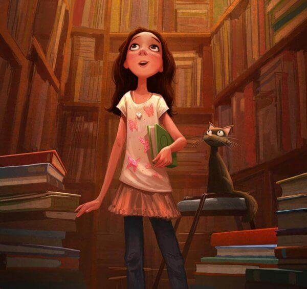 Flicka i bibliotek