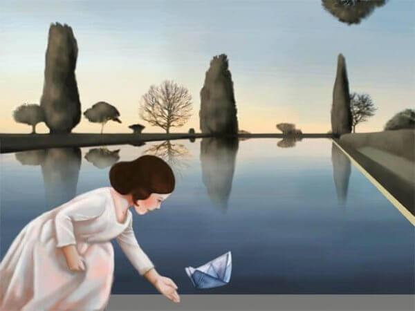 Flicka med pappersbåt