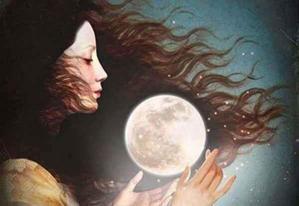 Kvinna med måne