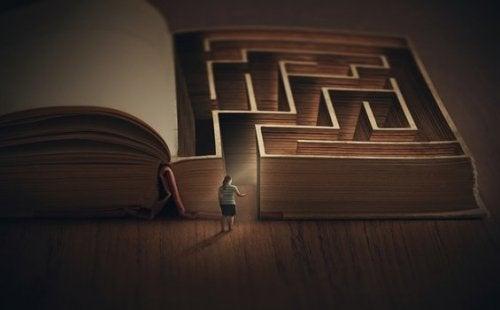 Person vid labyrint