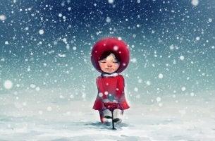 flicka på julen