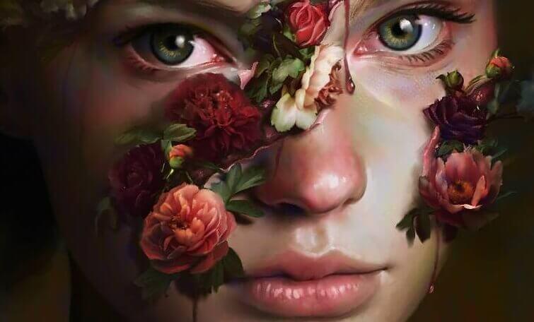 Kvinna med ros i ansiktet