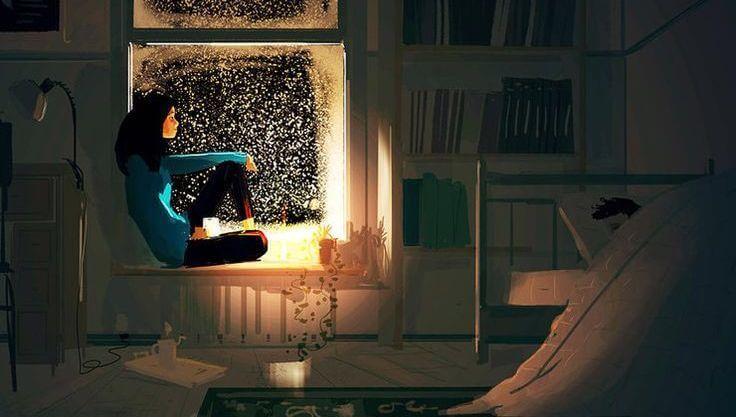Kvinna som tittar ut genom fönstret