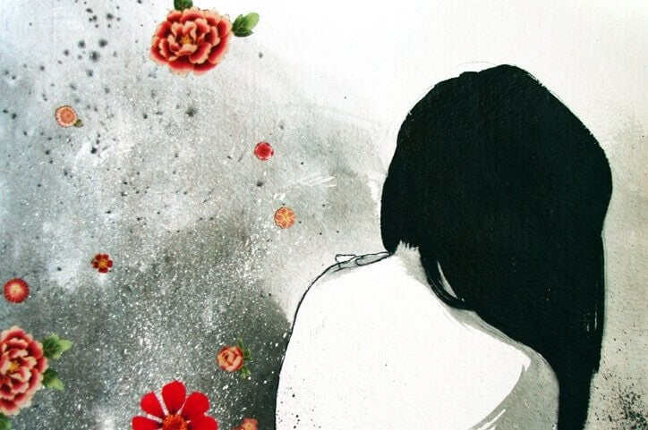 Målning av kvinna och blommor