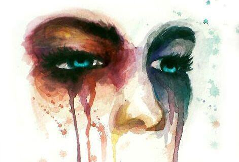 Målning av kvinna som gråter